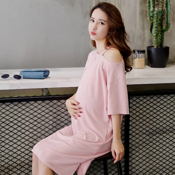 feab8f64b4a Shoulder Off Knitted Maternity Dress Summer Fashion Clothes for Pregnant  Women Sexy Plus Size Loose Pregnancy