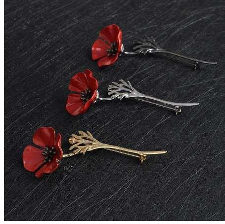 3D Vintage Kırmızı Haşhaş Çiçek Squid Broş Pin Yaka Korsaj Altın Gümüş Siyah Iğneler Gömlek Rozeti Vintage Takı Hediye Kadınlar için