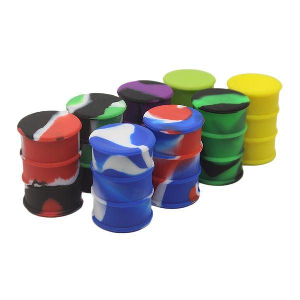 Silicone Recipiente 26 ml Food Silicone Antiaderente Barril Tambor Forma Recipiente Cera Vaporizador Dabber Jar Para Plataforma Petrolífera Pirex Vidro Bong
