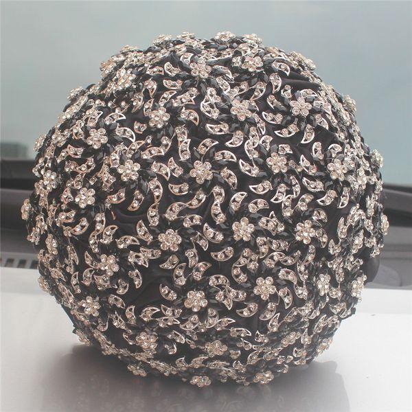 Luxury Crystal Brooch Wedding Bouquet de novia Black Satin Roses Flowers Bridesmaid Bouquet Holder Decorastion W999