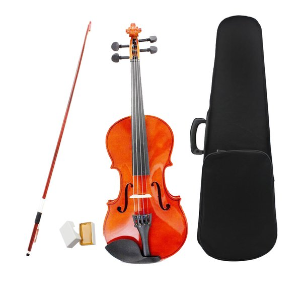 3/4 Size Natural Violin Basswood Face Board Steel String 4-String Instrument With Hard Case Arbor Bow For Beginners