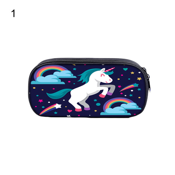 Cartoon Unicorn Students Stationery Pencil Bag Cosmetic Pouch Pocket Holder