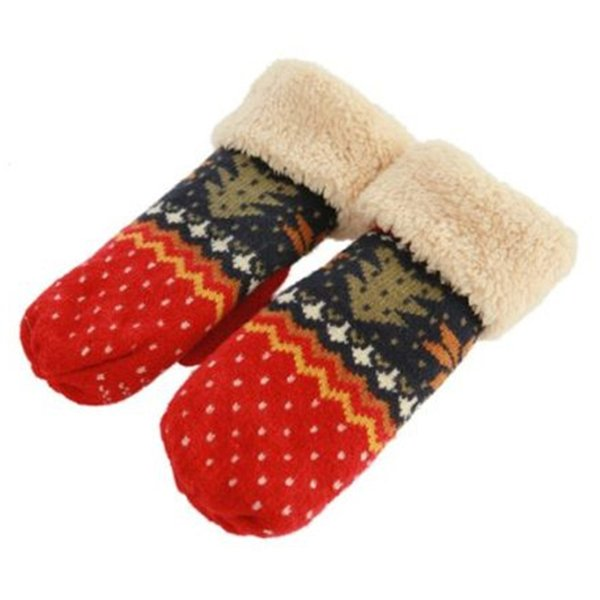 New Chrismas Tree Pattern Double Layer Knit Halter Mittens Warm Winter Gloves Women