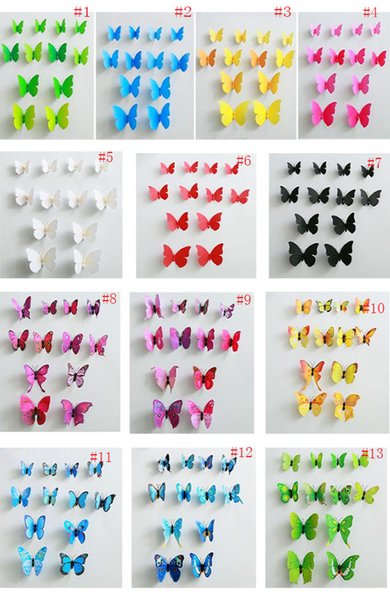Stereo 3D Fashion Beautiful Full Color Simulation Butterfly Wall Stickers 12PCS/Lot Decals Home Decor for Fridge Living Room Home Decoration