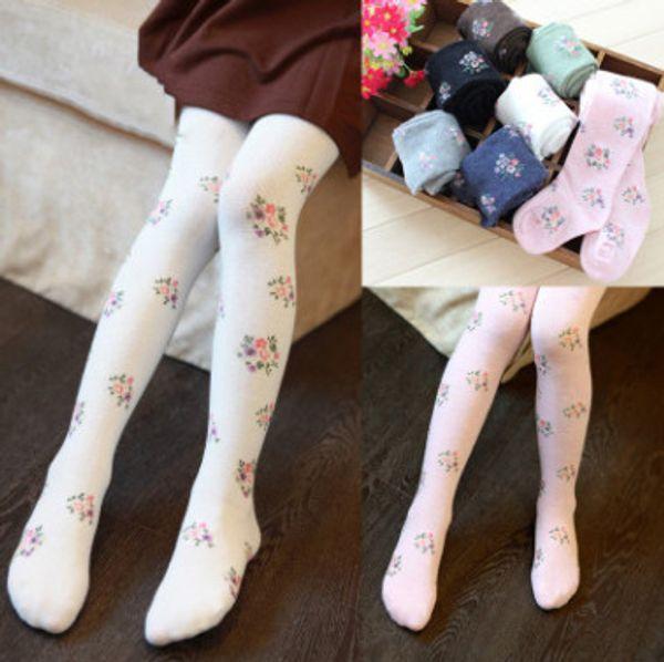 Baby kids pantyhose girls floral knitting leggings kids soft comfortable tight girls princess dance stockings children cotton bottoms Y4177