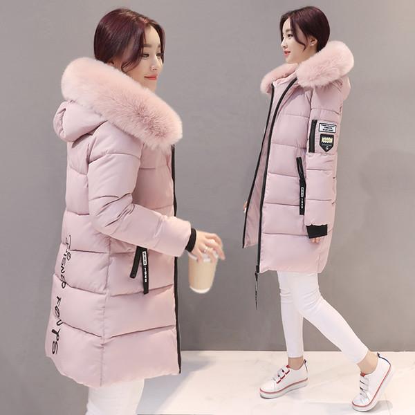 2019 new Parka Women Winter Coats Long Cotton Casual Fur Hooded Jackets Ladies Warm Winter Parkas Female Overcoat Women Coat MLD1268