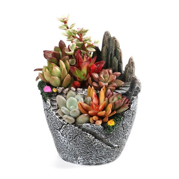NEW Creative Tiny Micro Landscape Hill Flower Garden Pot Holder Artificial Succulent Plants Pot Hanging Garden Design free shipping
