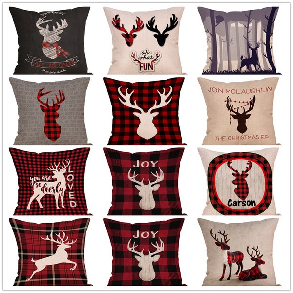 Plaid Christmas Pillows.9styles Christmas Plaid Elk Printed Pillow Case Flax Pillowslip Bedding Decor Pillow Cushion Covers Christmas Home Decor 45 45cm Ffa1247 Organic