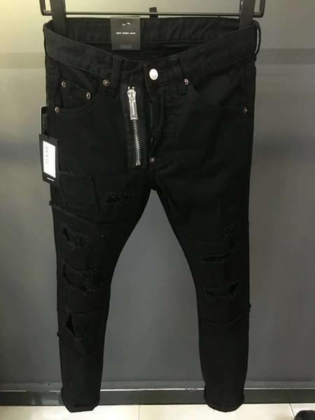 D2 018 nova moda italiana maré de jazz dos homens negros calças de brim de remendo remendo patch micro slim pés finos tendência de explosão homens