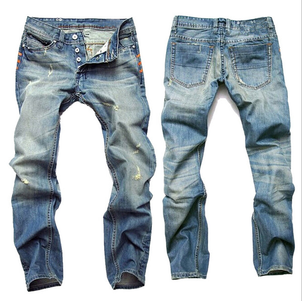 Мода Одежда Мужская Отверстие Ностальгические Джинсы Мода Старинные Светло-Синий Прямые Мужские Джинсы Полная Длина Брюки