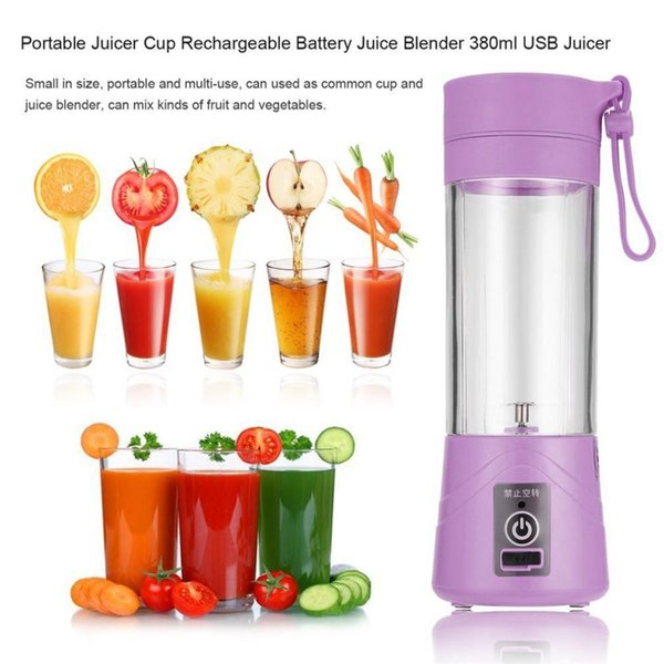High Quality 380ml USB Electric Fruit Juicer Handheld Smoothie Maker Blender Rechargeable Mini Portable Juice Cup Water Bottle