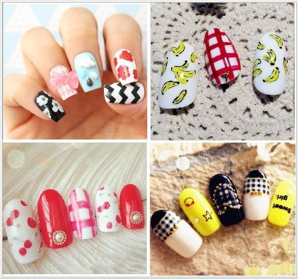 DIY Glitter Japan Nail Art Stickers Cute Cartoon Designs Water Transfer  Nail Patch Decals Christmas Series Nails Designs French Manicure From