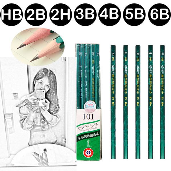 10pcs High Quality HB 2H 2B 3B 4B 5B 6B Drawing painting Sketching Soft Safe Standard Wood Black Pencils School Supplies 05408