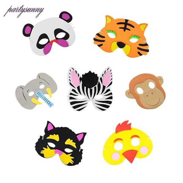 New Cartoon Animals EVA Mask Upper Half Face Party for Kids Birthday Party Favors Dress Up Costume Zoo Jungle Supplies