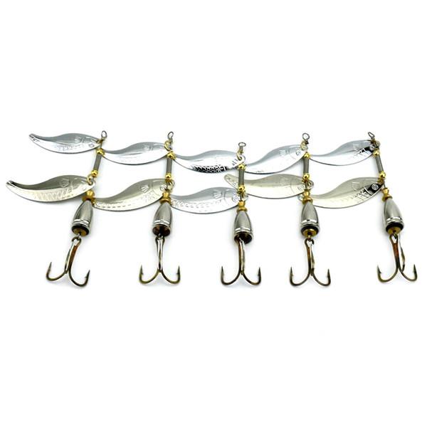 5pcs 9cm appâts en métal trancher faux bai leurres Rotating Sequin Reservoir Pêche en eau douce dur leurre