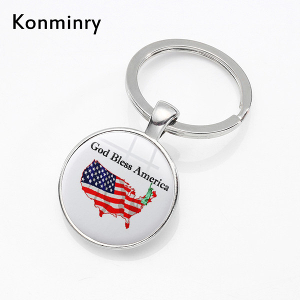 Classic God Bless America Keyrings Silver Plated Round Glass American Style Key Chains Holder For Women Men Konminry Jewelry