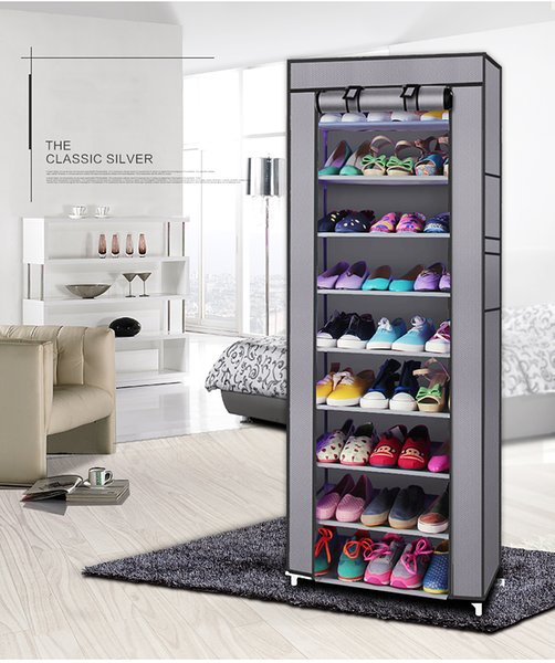 Fashionable Room-saving 9 Lattices Non-woven Fabric Shoe Storage Shoe Rack Gray
