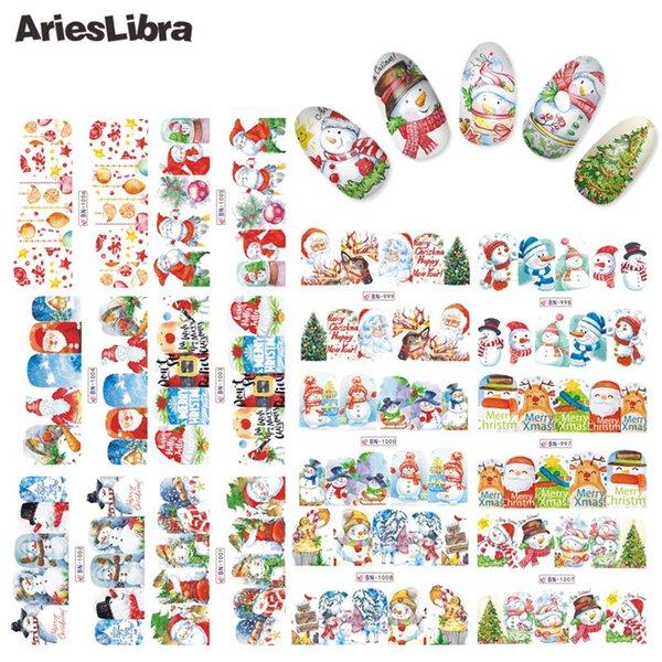 AriesLibra Prego Série de Natal Prego Decalque de Água Etiqueta de Transferência de Arte Adesivos Beleza Decoração Acessórios
