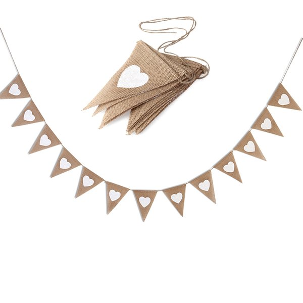 13pcs Jute Fabric Bunting Banner White Heart Flags Vintage Wedding Party Burlap Banners Rustic Wedding Decoration Cent