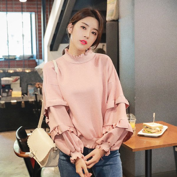 2018 autumn and winter new hoodies suede sweater women loose ruffled lantern sleeves 2 colors free shipping
