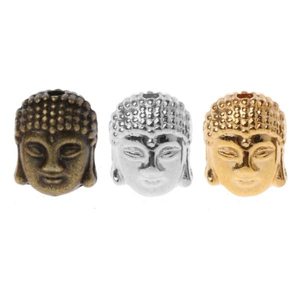 50PCS Buddha Head Beads Spiritual Metal Beads Spacer for Jewelry Making Bracelet DIY