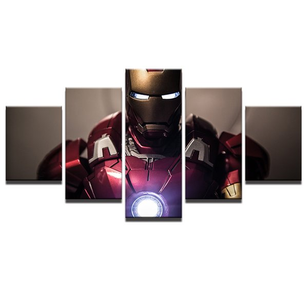 Wall Art Painting For Home Decorations HD Printed Canvas Poster 5 Pieces Superhero Movie Iron Man Modular Pictures Framed