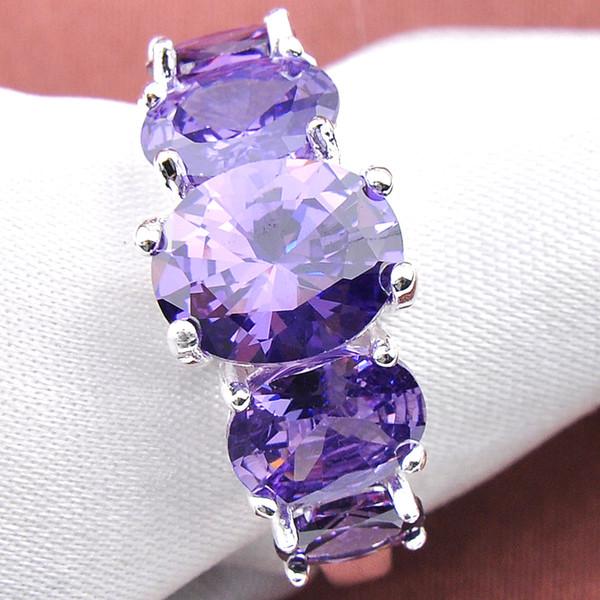 10 Pcs/Lot LuckyShine New Fire 925 Silver fashion Oval Shape simple design Cubic Zirconia Gems Women's Purple Ring jewelry