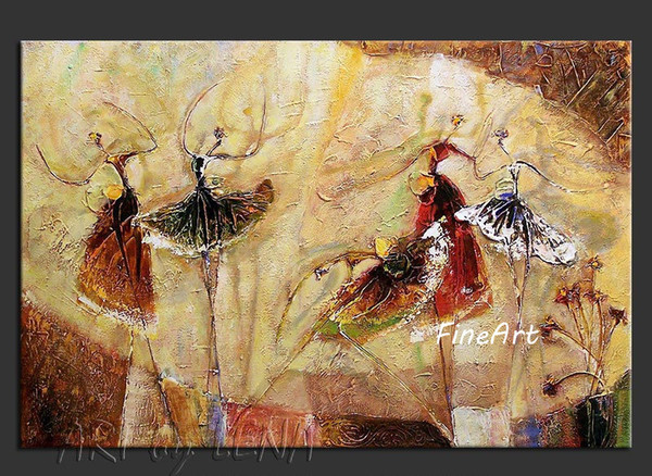 hand-painted good quality wholesale dancing girl wall art home oil painting ballet dancer dancing abstract art office decoration
