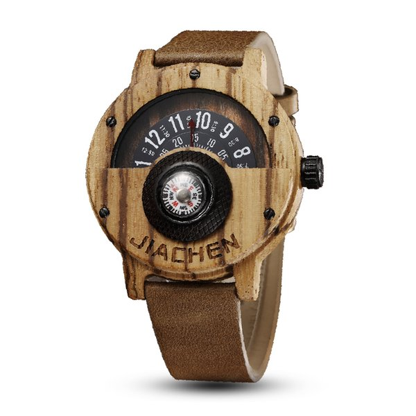 Top Band Wood Watch Men Fashion Compass Turntable Natural Wooden Male Leather Band Sport Watch Best Gift relogio masculino