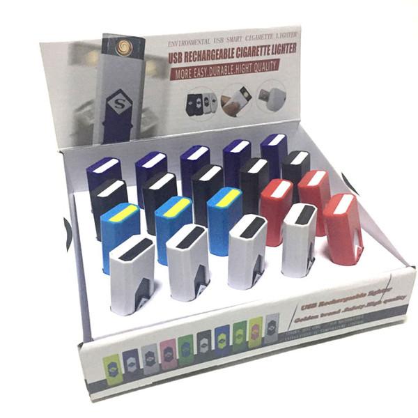 Лучший подарок USB Аккумуляторная Зажигалка Электронная Сигарета Зажигалка Ветрозащитный Беспламенный Нет Газ Топливо ABS Огнестойкий Пластик