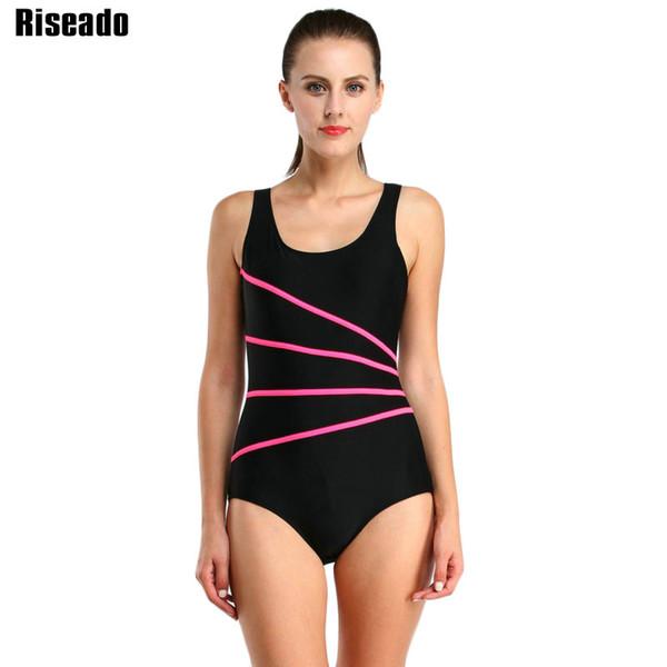 Riseado 2017 One Piece Swimsuit For Training Racing Swimwear Women Striped Sport Swimming Bathing Suits Bodysuit