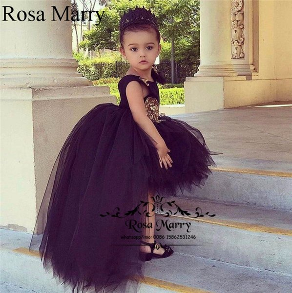 Gothic Black High Low Girls Pageant Dresses 2020 Ball Gown Gold Sequined Puffy Tulle Cheap Girls Birthday Prom Party Gowns For Teens