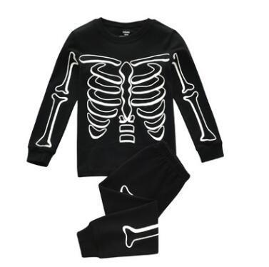 Traje de cráneo reflexivo de Halloween Niños pijamas Establece Otoño de algodón Camiseta de manga larga + Pantalones 2pcs pijama Bebé y niños ropa de dormir