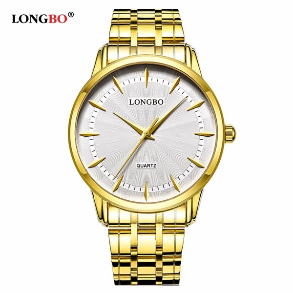 LONGBO Gold Uhr Paar Uhren Herrenuhr mit Edelstahlband zurück Armbanduhren wasserdicht Damenuhr für Frau