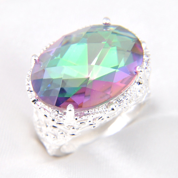 top popular Luckyshine 16*12 mm Punk Style Fashion brand Silver plated austrian crystal Mystic Topaz Zirconia Gems Lovers Wedding Rings 2019