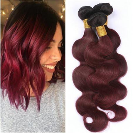 Malaysian Wine Red Ombre Human Hair Wefts 3Pcs Body Wave Wavy #1B/99J Black and Burgundy 2Tone Ombre Virgin Human Hair Weave Bundles