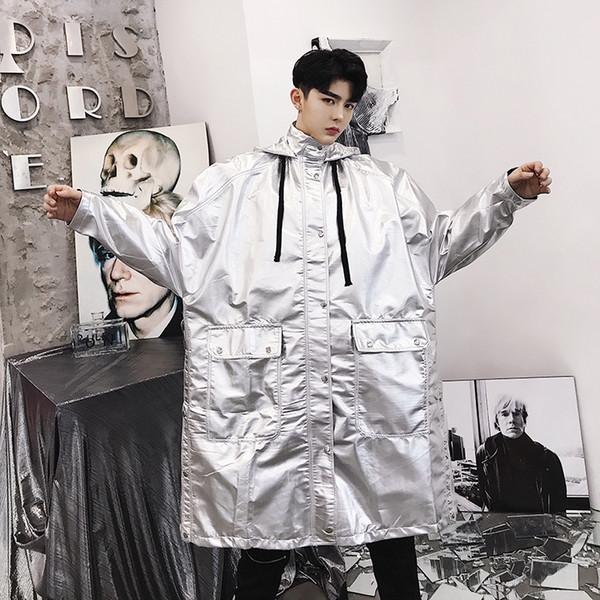 New Men Stage Costumes Long Loose Silver Hooded Trench Coat Hip Hop Casual Overcoat Male Windbreaker Streetwear Jacket Outerwear