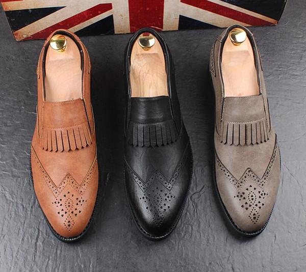 Großhandel Herren Quaste Kleid Leder Brogue Oxford Schuhe Für Männer 2019 Klassische Italienische Ballerinas Männliche Schuhe Eleganter Schuh HX7 Von