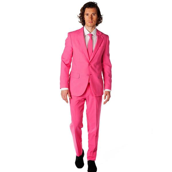 New Arrival Groomsmen Notch Lapel Groom Tuxedos Hot Pink Men Suits Wedding Suits For Men Best Man (Jacket+Pants)