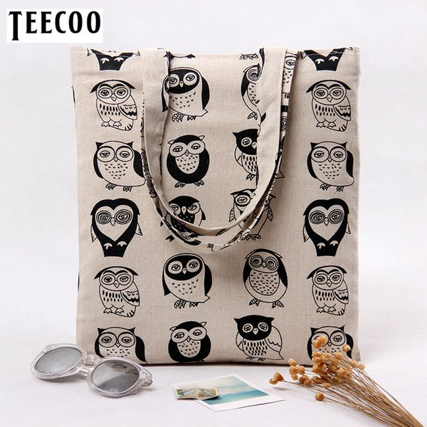 New Cute Owl Printing Eco Reusable Shopping Bags Cloth Fabric Grocery Packing Recyclable Bag Simple Design Healthy Tote Handbag