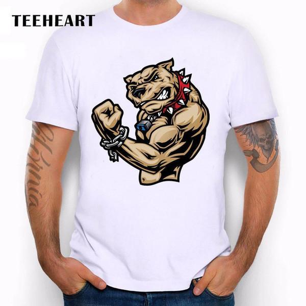 Mad Dog Pit Bull Músculos Ginásio CrossFit Bad Boy Engraçado Piada Homens T Shirt Tee