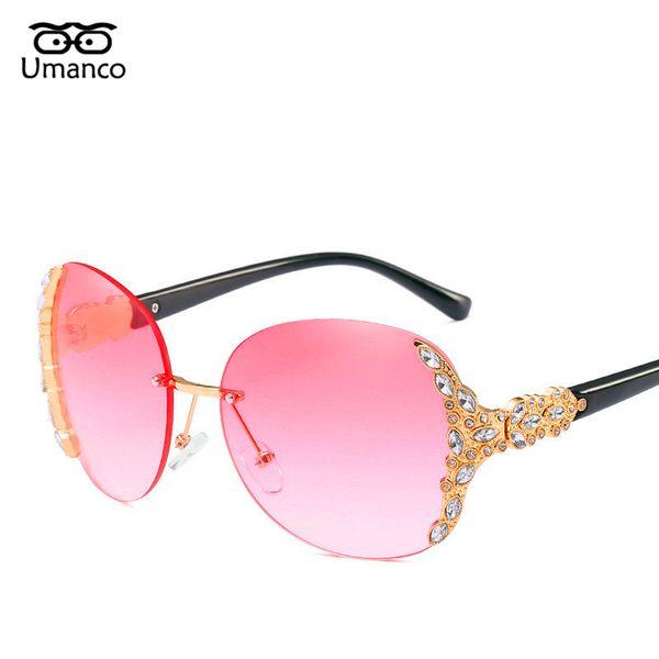 62394417f36d4 Umanco Vintage Rhinestone Redondo Sem Aro Óculos De Sol Das Mulheres  Deslumbrante Gradiente Espelhos Oversized Eyewear