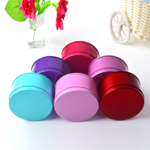 Solid Color Party Candy Boxes Cheap Mini Tin Tea Storage Box Small Round Cake/Coin Metal Box Case Wedding Favor Organizer