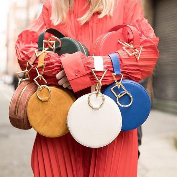 Замша Cutch шикарный женщин дизайн сумки круглый круг коробка сумки для Леди портативный геометрические аппаратные средства рука запястье сумка крошечные плеча