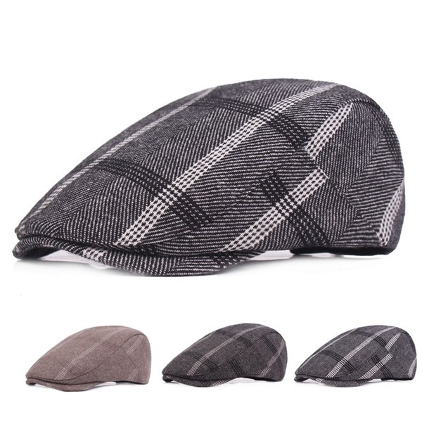 High Quality Fashion Cotton Fabric Mens Women Cabby Newsboy Hats Ivy Cap Retro Plaid Berets Unisex Casual Casquette