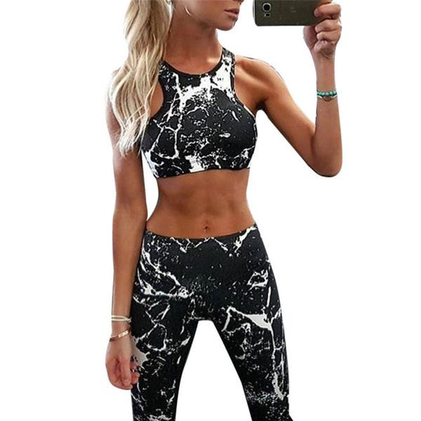 Nuevo Traje de Chándal de Mujer Set Pintura de Tinta Conjunto de Fitness Impreso Ropa Deportiva Polainas Ajustados Ropa de Sportwear
