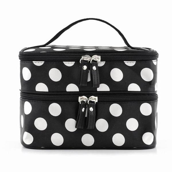 Black Large Capacity Cosmetic Bag Woman Dots Portable Storage Makeup Bags Canvas Beauty Organiser Handbag Big Travel Bag