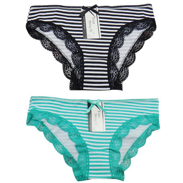 60 PÇS / LOTE SINGYOU Moda Listrado Impresso Roupa Interior Das Mulheres Sexy Lace Briefs Bowknot Senhoras Calcinhas Cueca