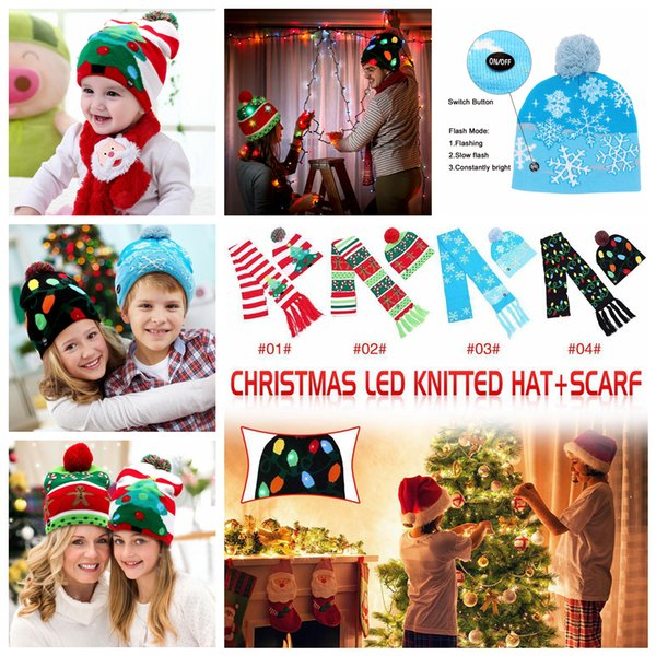 4styles LED Knitted Christmas Hat scarf set Kids Warm Hat New Year Christmas Decor Party Tree Snow Knitted Cap scarf kids gift FFA1220