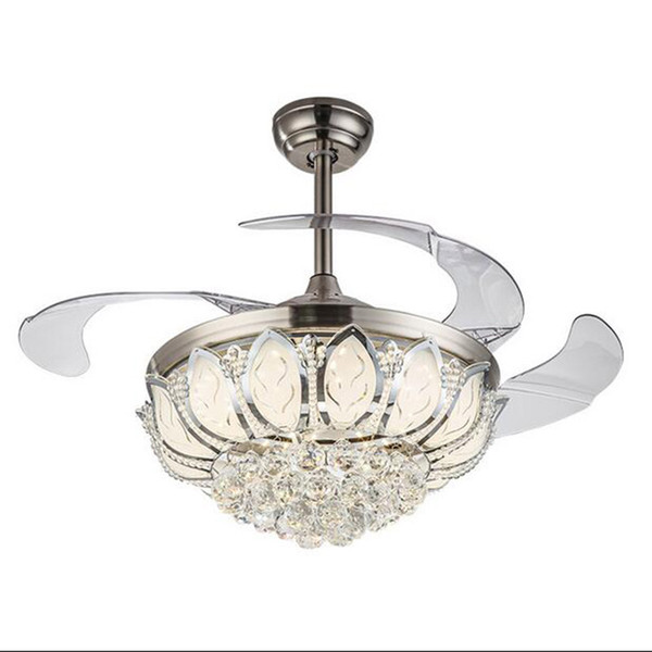 LED remote contro 42 inch Iron fan ceiling lamps leaf Ceiling lights silver art hotel lighting living bedroom E090